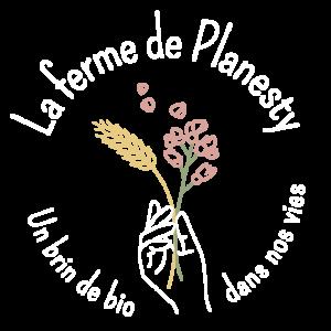 Déclinaison en rond du logo de la Ferme de Planesty